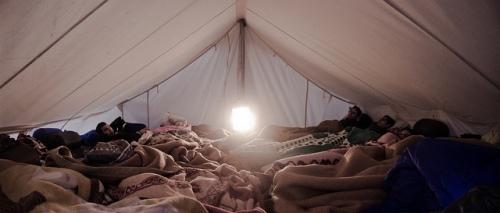 Campamento de manifestantes que realizaron una huelga de hambre en Grecia. (Foto por usuariode Flickr margaretkilljoy)